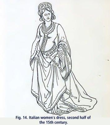 Italian women dresses 15th century clothing. Renaissance fashion
