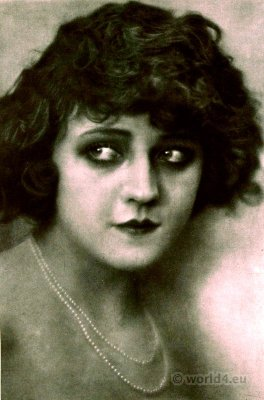 Actress Bronislava Livia Portrait. Art deco jewelry. Flapper hairstyle. Silent movie star