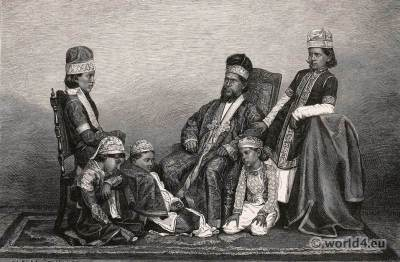 Princes of the imperial house of the Moghuls. Indian Rajah Moghul costumes. Ancient India clothing.