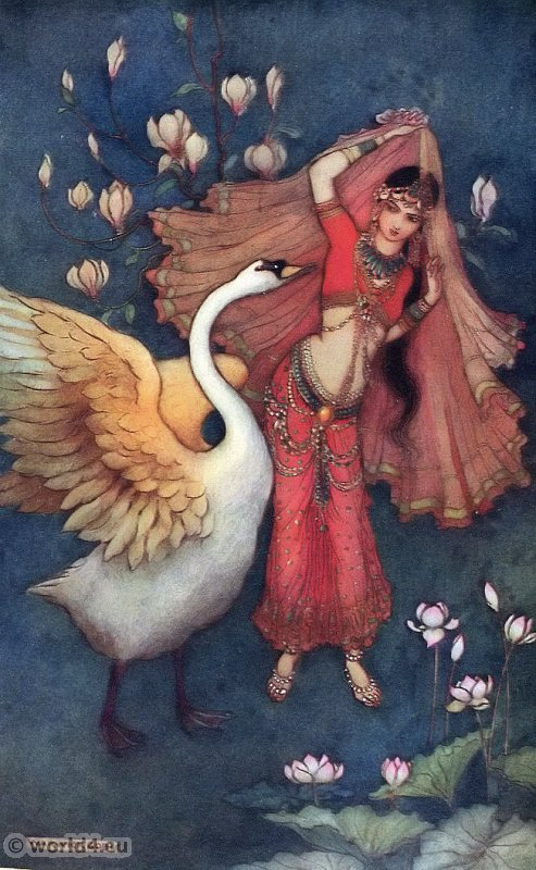 Damayanti and the Swan. Indian myth and legend. Traditional Indian clothing