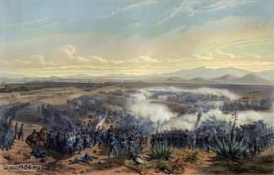 Assault of Contreras. Mexican-American War. George Wilkins Kendall. Carl Nebel. Military Soldier Uniforms.