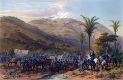 Battle of Cerro Gordo. Mexican-American War. George Wilkins Kendall. Carl Nebel. Military Soldier Uniforms.