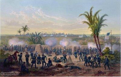 Bombardment of Vera Cruz. Mexican-American War. George Wilkins Kendall. Carl Nebel. Military Soldier Uniforms.