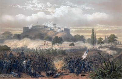 Chapultepec Quitman. Mexican-American War. George Wilkins Kendall. Carl Nebel. Military Soldier Uniforms.
