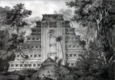La grande pyramide de Papantla. Mexican town. Topography. Carl Nebel. El Tajín. Piramide de los Nichos.