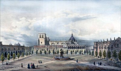 Place Mayor à Guadalajara. Mexican town. Topography. Carl Nebel. Perla del Occidente.