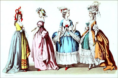 Rococo fashion. Hoop-skirts. French Ancien Régime costumes. 18th century fashion. French court dress