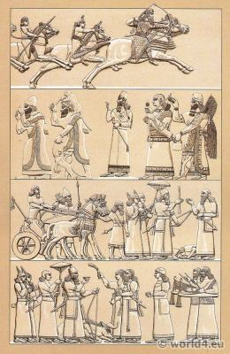 Assyrian costume of antiquity. Assyria dresses, Antique Soldiers. Warriors. Sumerian Ceremonials