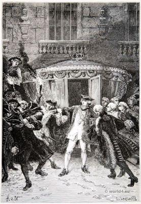 Assassination. Louis XV. Robert-François Damiens. Rococo fashion. 18th century costumes.