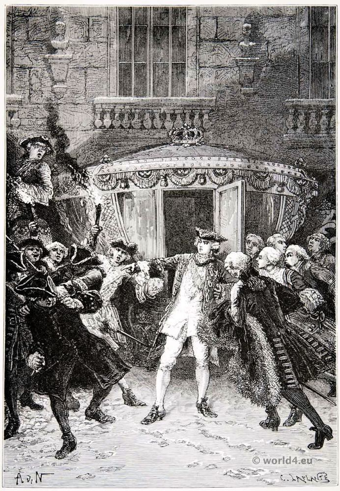 Assassination of King Louis XV. Robert-François Damiens. 17th century costumes. Rococo fashion.