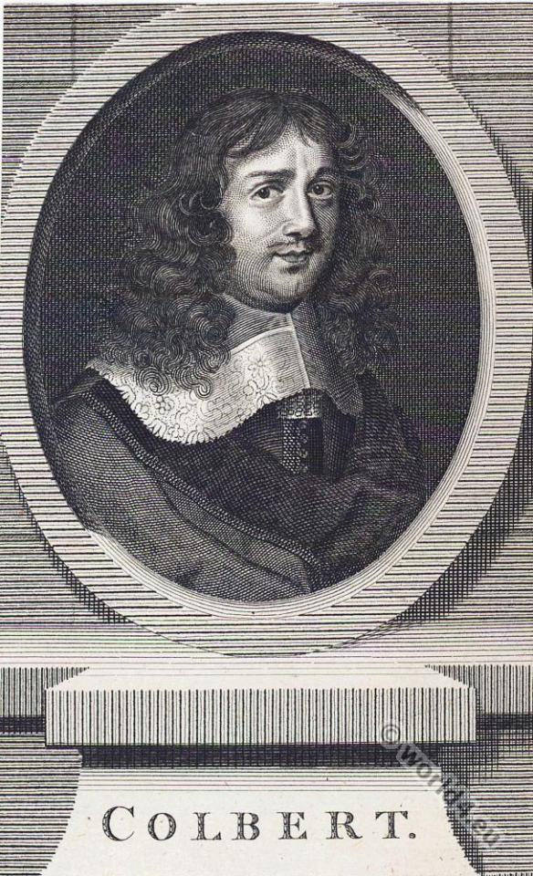 Jean-Baptiste Colbert. Mercantilism.17th century costume. Baroque era.