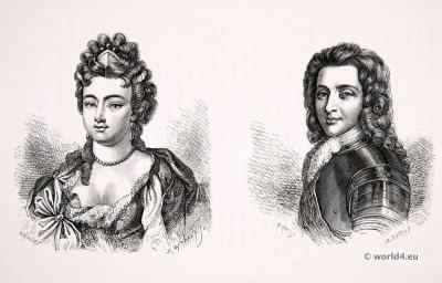 Duke and Duchess of Maine. Louis XIV fashion. Hairstyle 17th century. Baroque costumes