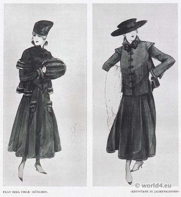 Designs for jacket dresses. Mrs. Irma Firle costumes, Munich 1917. German Modernist fashion.