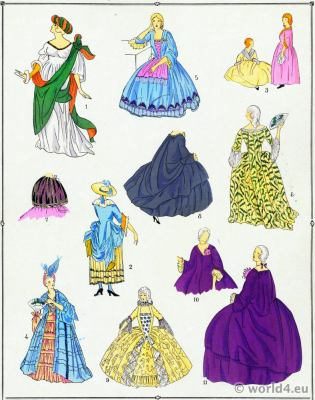 Robes, Court dresses. La mode Louis XV. Costumes de rococo. 18 vêtements de siècle.