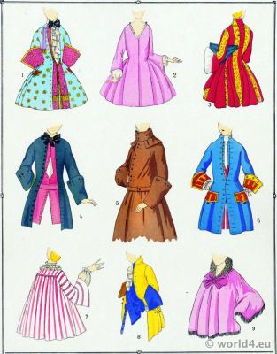 French Coats Fashions of Louis XV. Rococo costume history. 18th century clothing