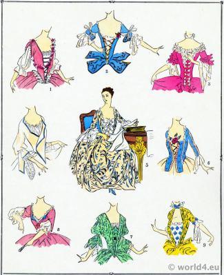 Bodices. Louis XV fashion. Rococo costumes. 18th century clothing