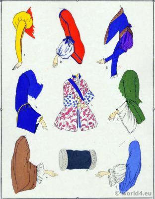 Sleeves. Louis XV fashion. Rococo costumes. 18th century clothing