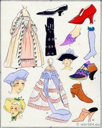 Shoes. Louis XV fashion. Rococo costumes. 18th century clothing