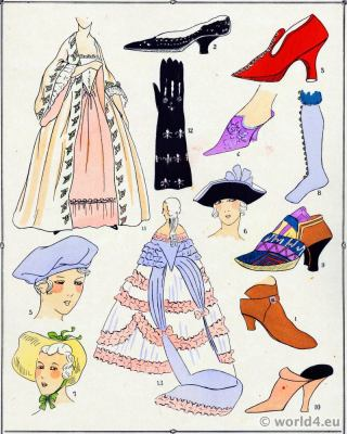 French Shoes Fashions of Louis XV. Rococo costume history. 18th century clothing