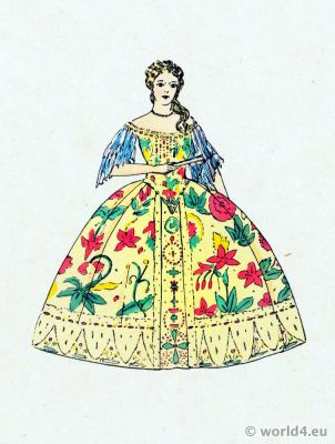 French Fashions of Louis XV. Rococo costume history. 18th century clothing