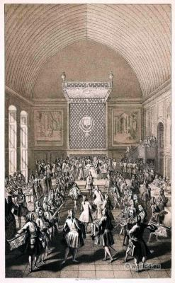French Court. The Coronation Banquet of Louis XV at Reims, 25 October 1722. Rococo fashion.