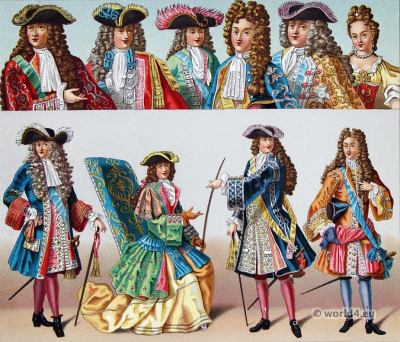 Louis XIV fashion- 17th century costumes, Baroque nobility fashion.