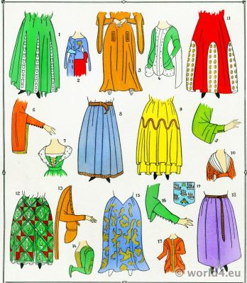 Middle ages skirts fashion. 13th to 15th century costume history.