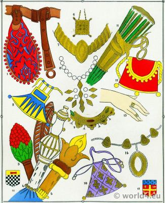 Middle ages trinkets design. 12th to 15th century fashion history.
