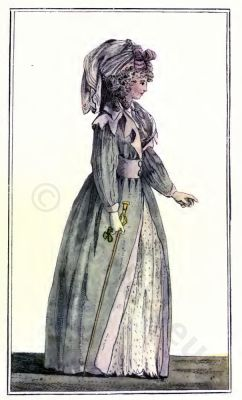 Paris Fashion 1788. French Rococo costume. Hairstyle Hoop skirt. 18th century clothing