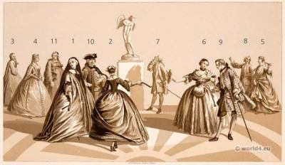 Louis XV baroque fashion. 18th century fashion. Grande robe. Justaucorps. Watteau.