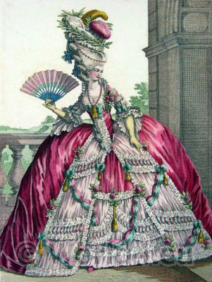Pouf à la Victoire 1778. Le Pouf. French Rococo costume. Hairstyle Hoop skirt. 18th century clothing