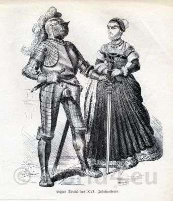 Renaissance costumes. 16th century clothing. Medieval dresses. Knight in Armor