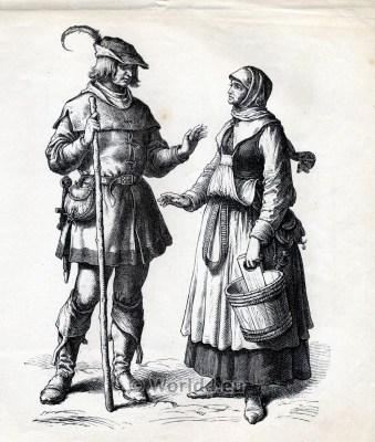 german peasant costume. Renaissance clothing. 16th century costumes. Medieval Fashion.
