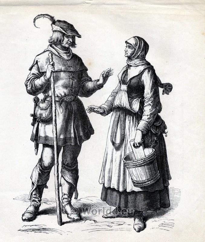 Renaissance clothing. German Peasants dresses. 16th century costumes. Medieval Fashion.