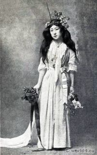 Japan Geisha Costume. Japanese Actress Sada Yacco. Antique Kimono.