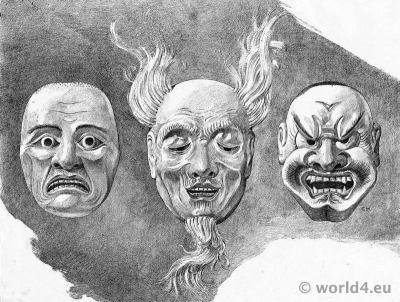 Japanese Modern Art. Noh theatre masks