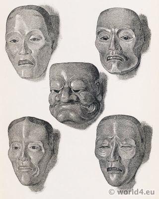 Seventeenth century - Japanese Art. Theater Masks.