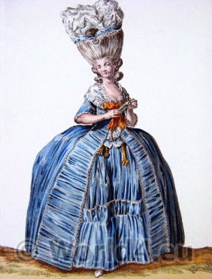 Pouf, Reine, Louis XVI, Court dress, Rococo, fashion history, 18th century