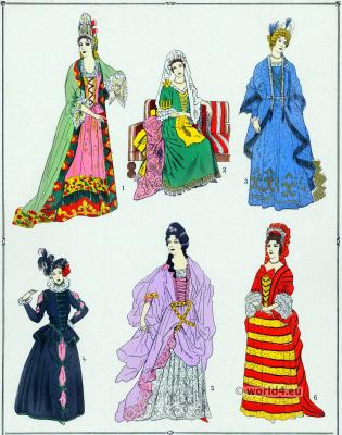 Louis XIV fashion. 17th century baroque costumes.