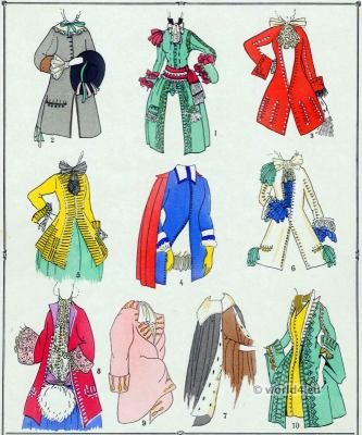 Louis XIV fashion. 17th century baroque costumes.