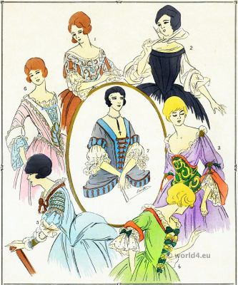 Corsages, bodice Louis XIV fashion. 17th century French costumes. Paul Louis Victor de Giafferri. Baroque Clothing