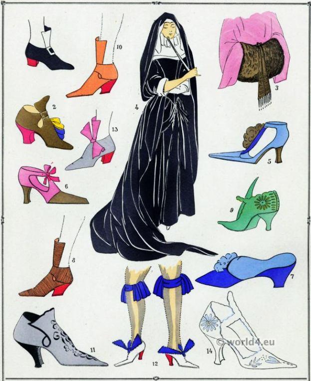 Louis XIV fashion. Chaussures. 17th century. Baroque fashion.
