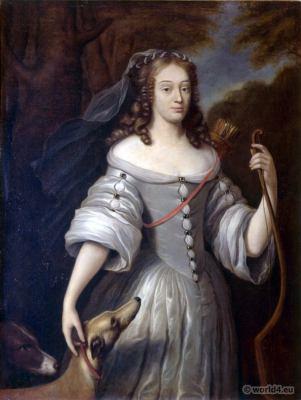 French Louis XIV Fashion. Louise Françoise de La Baume Le Blanc. Hairstyle 17th century. Baroque costume