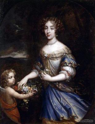Louis XIV fashion. Louise Françoise de La Baume Le Blanc. 17th century. Baroque costumes
