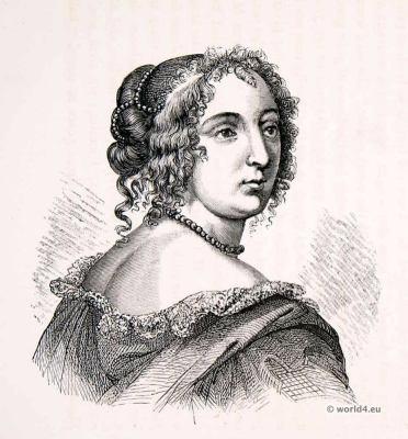 Louis XIV fashion. Madame de Montespan. Hairstyle 17th century. Baroque costume