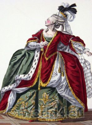 Le Pouf. Marie Antoinette. French Rococo costume. Hairstyle Hoop skirt. 18th century clothing