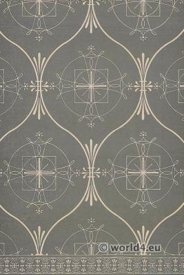 Medieval textil. 16th century Italian Renaissance two tone fabrics design