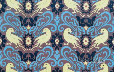 Medieval textil design. Fabric Flemish School 15th century . Renaissance fabrics design