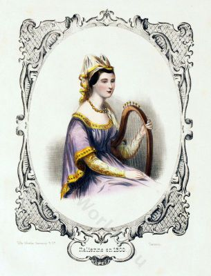 Gothic period fashion. Italian noblewoman 13th century clothing. Burgundy era, Hennin