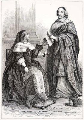 Queen Anne of Austria. Cardinal Mazarin. 17th century nobility. Baroque costumes